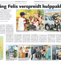 Artikel in Antilliaans Dagblad: Stichting Felis verspreidt hulppaketten